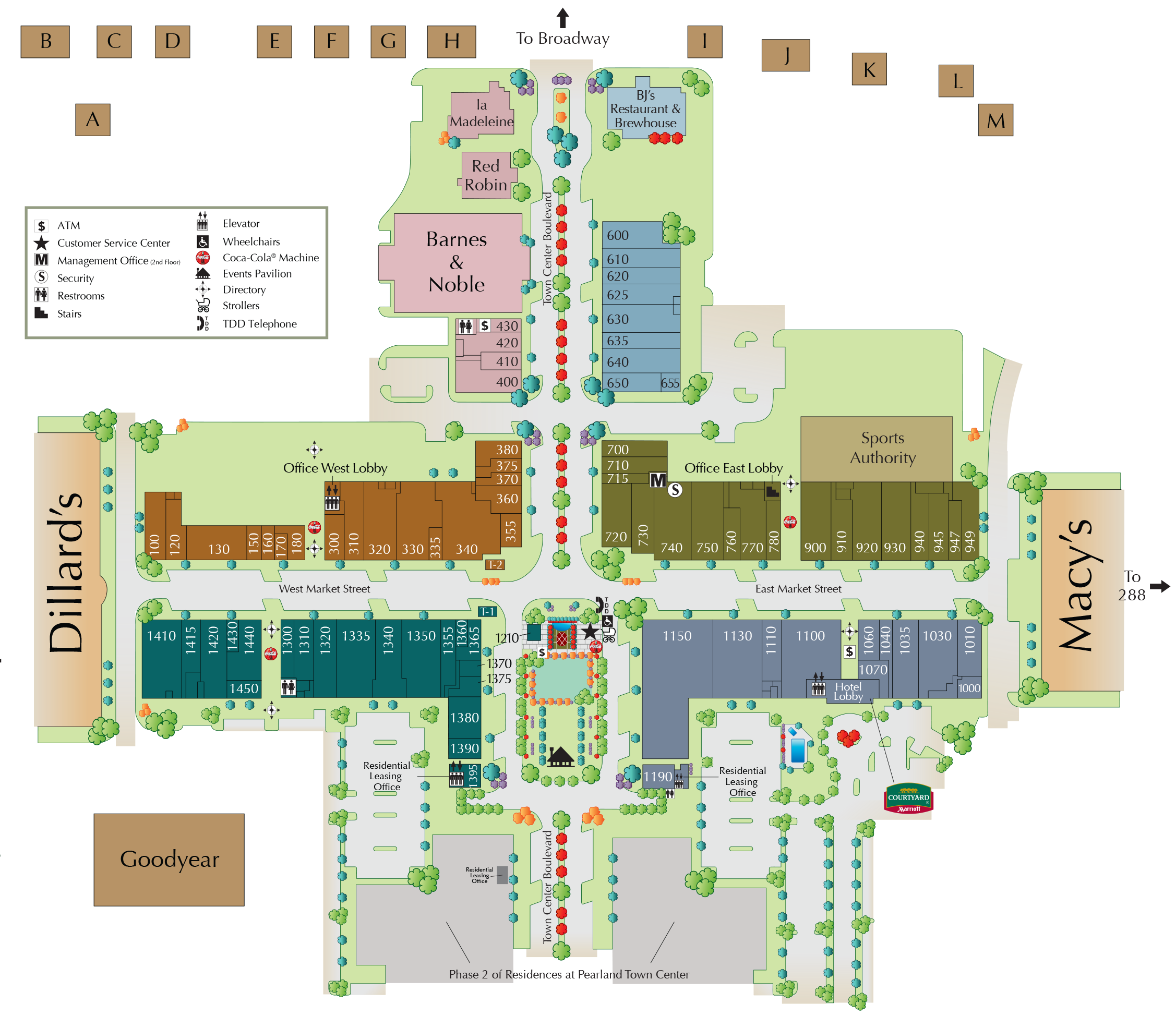 Pearland Town Center directory map