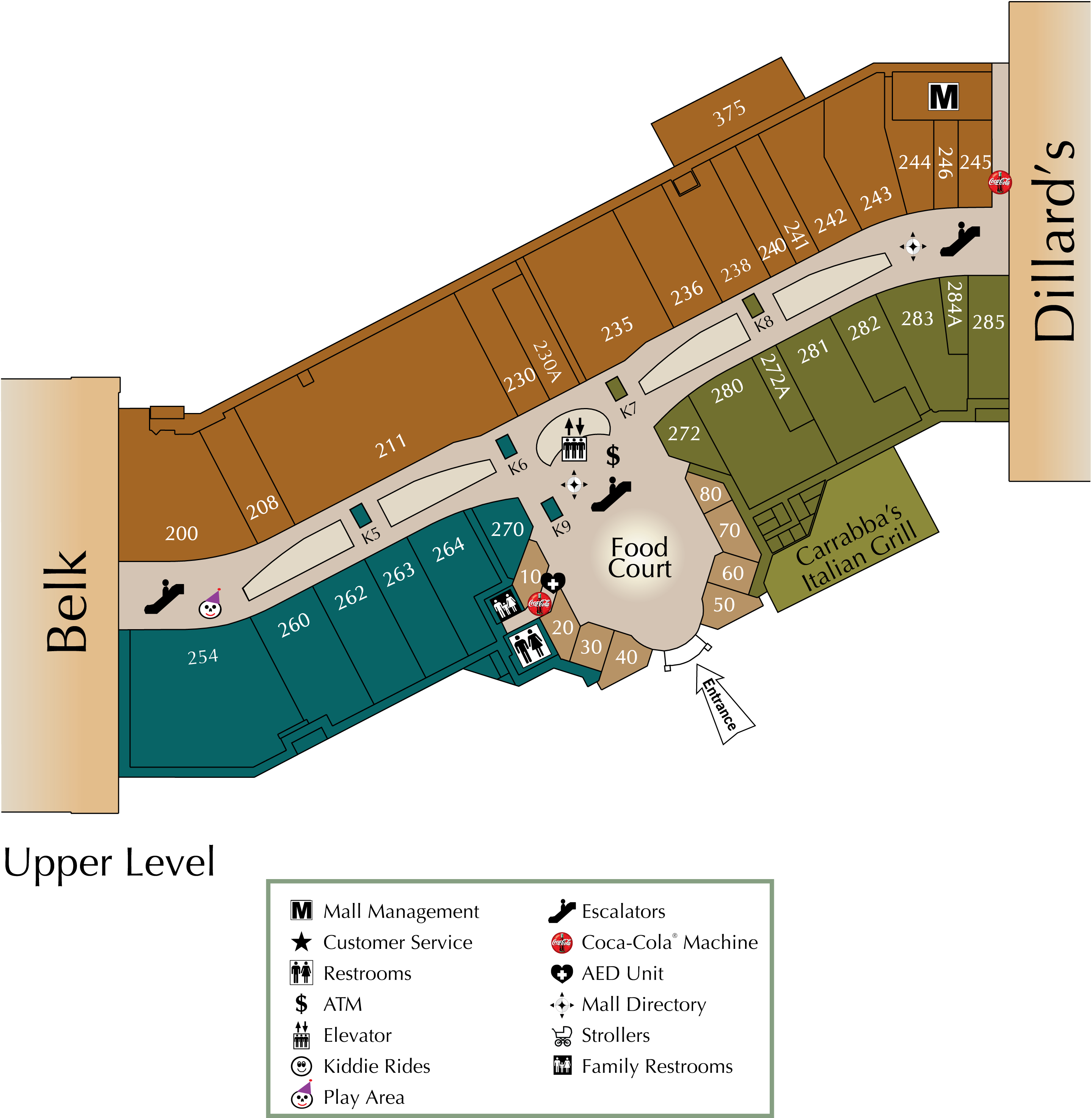 Parkway Place upper level directory map