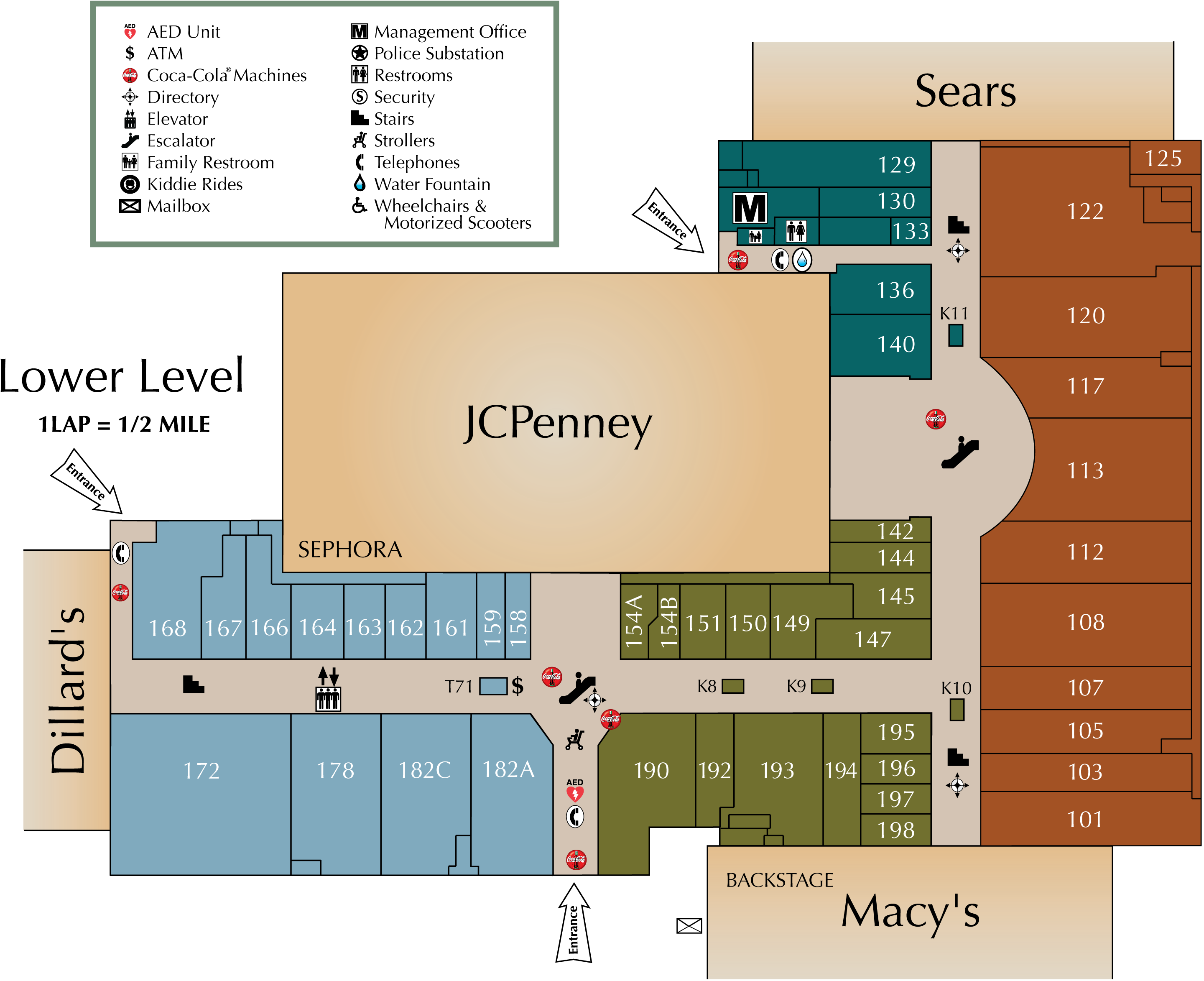 St. Clair Square lower level directory map