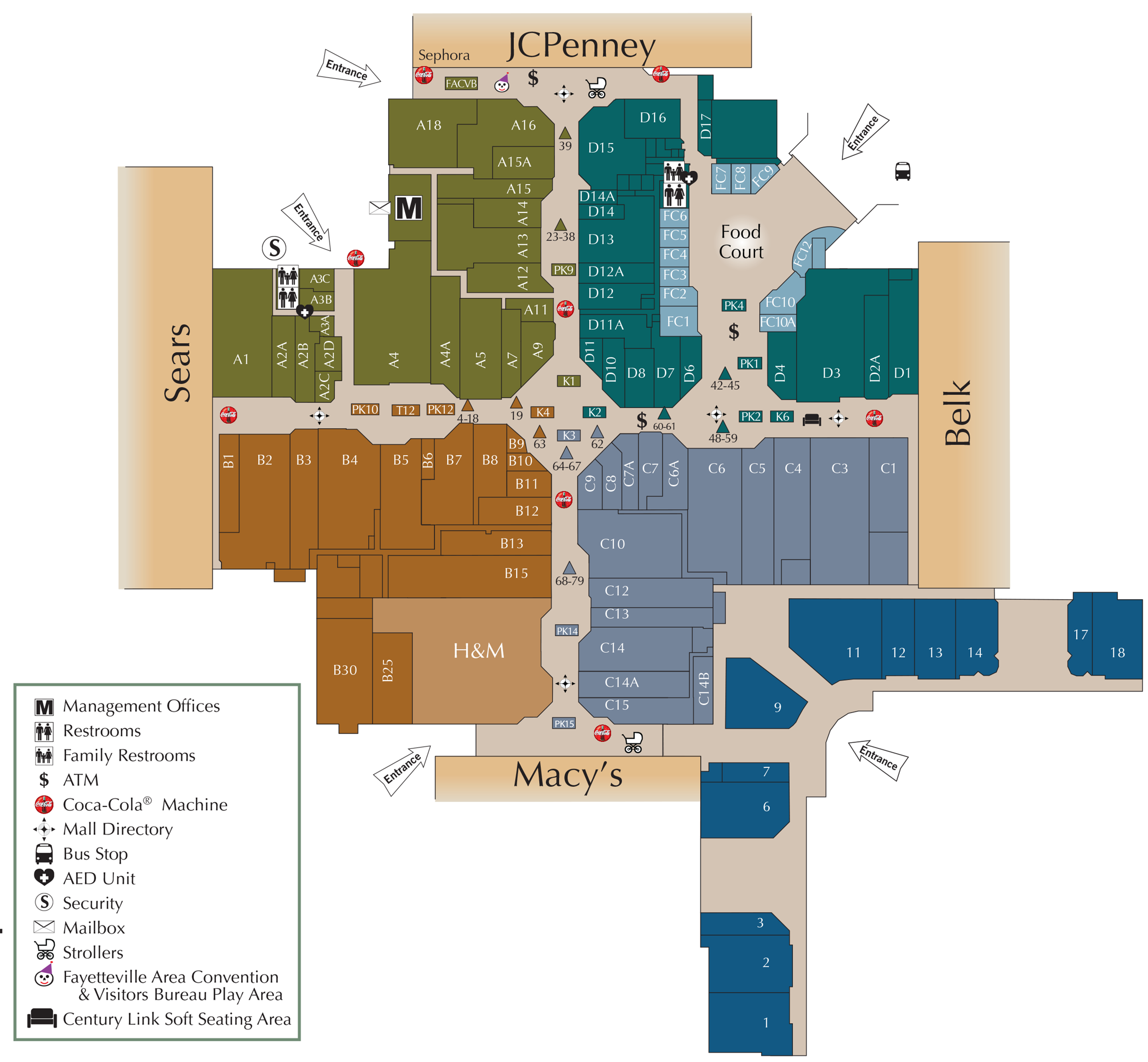 Cross Creek Mall directory map