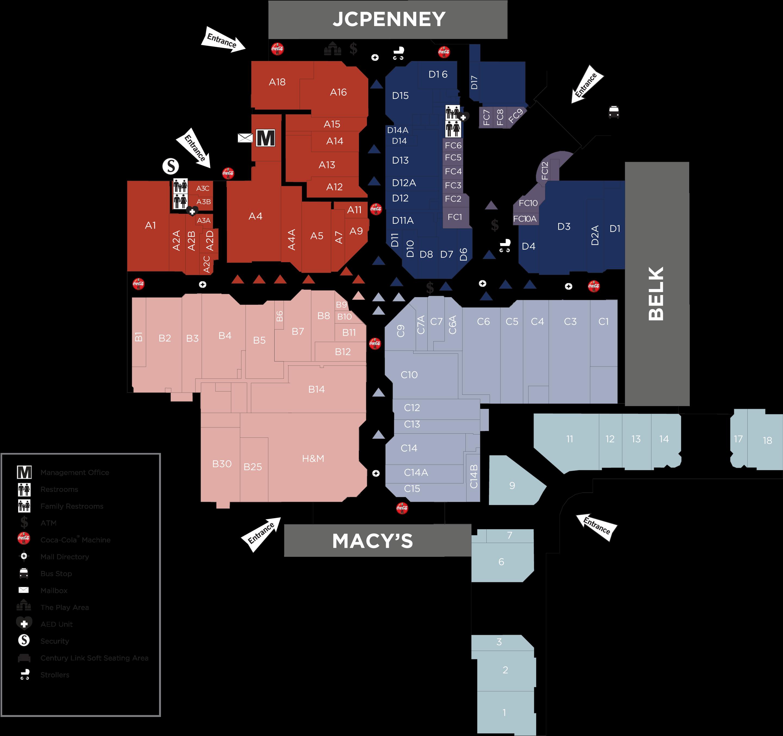 Cross Creek Mall directory map