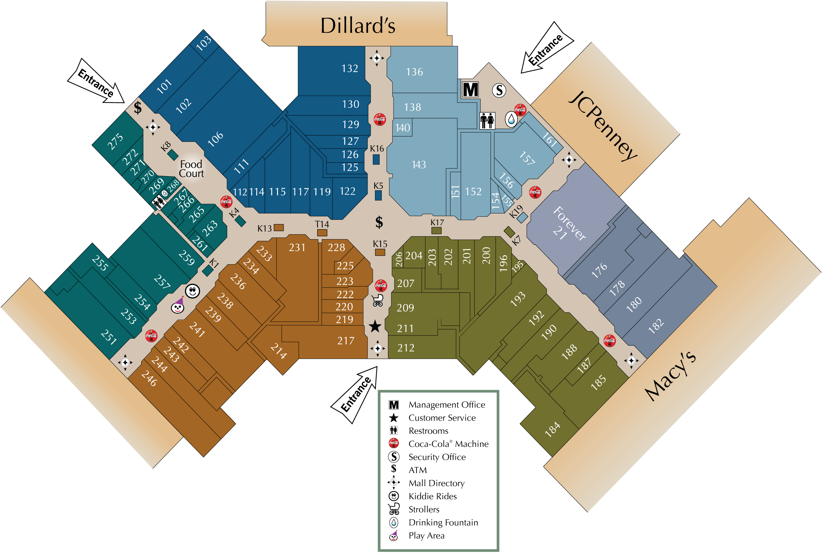 Acadiana Mall directory map