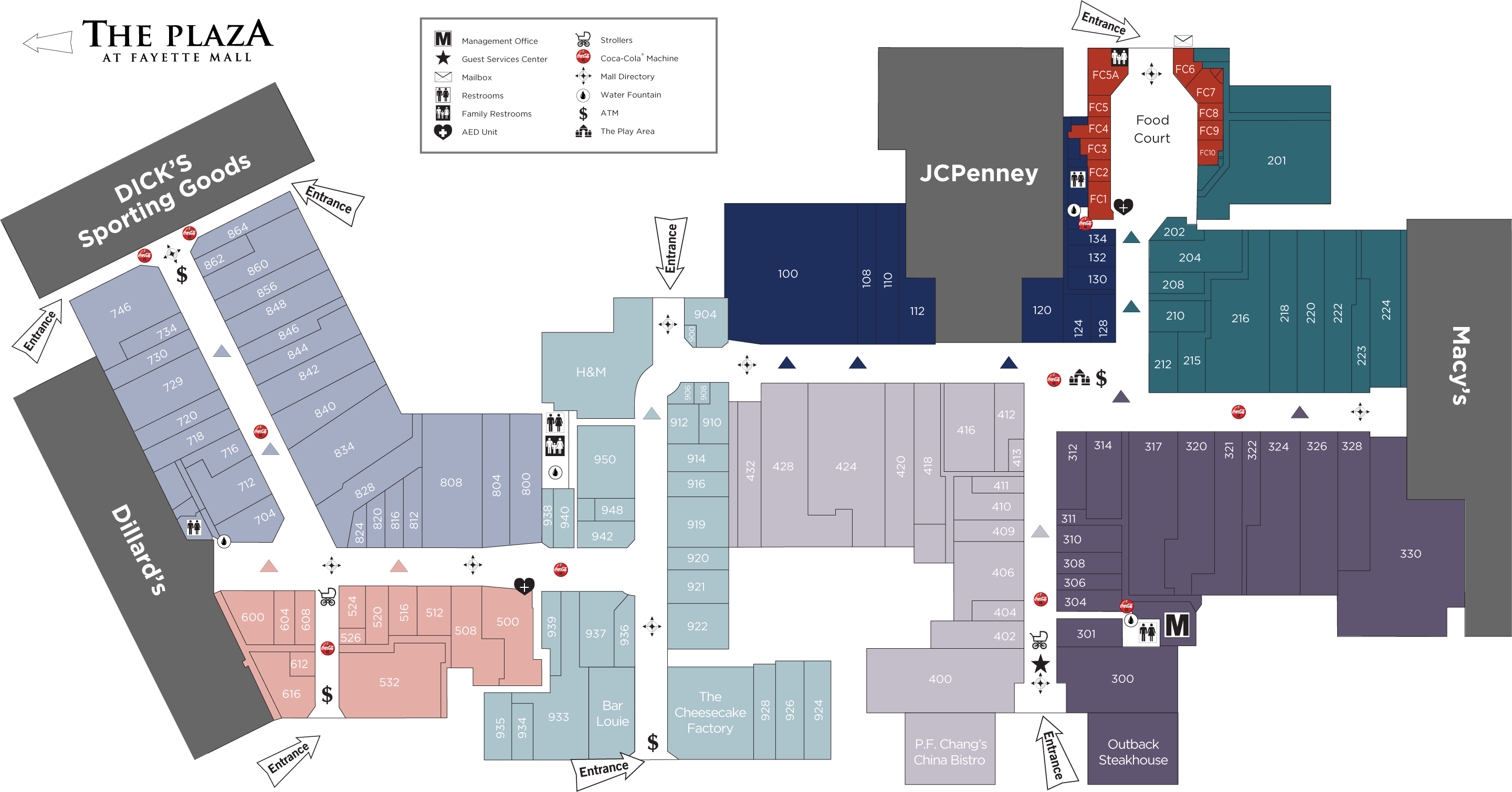 Fayette Mall directory map