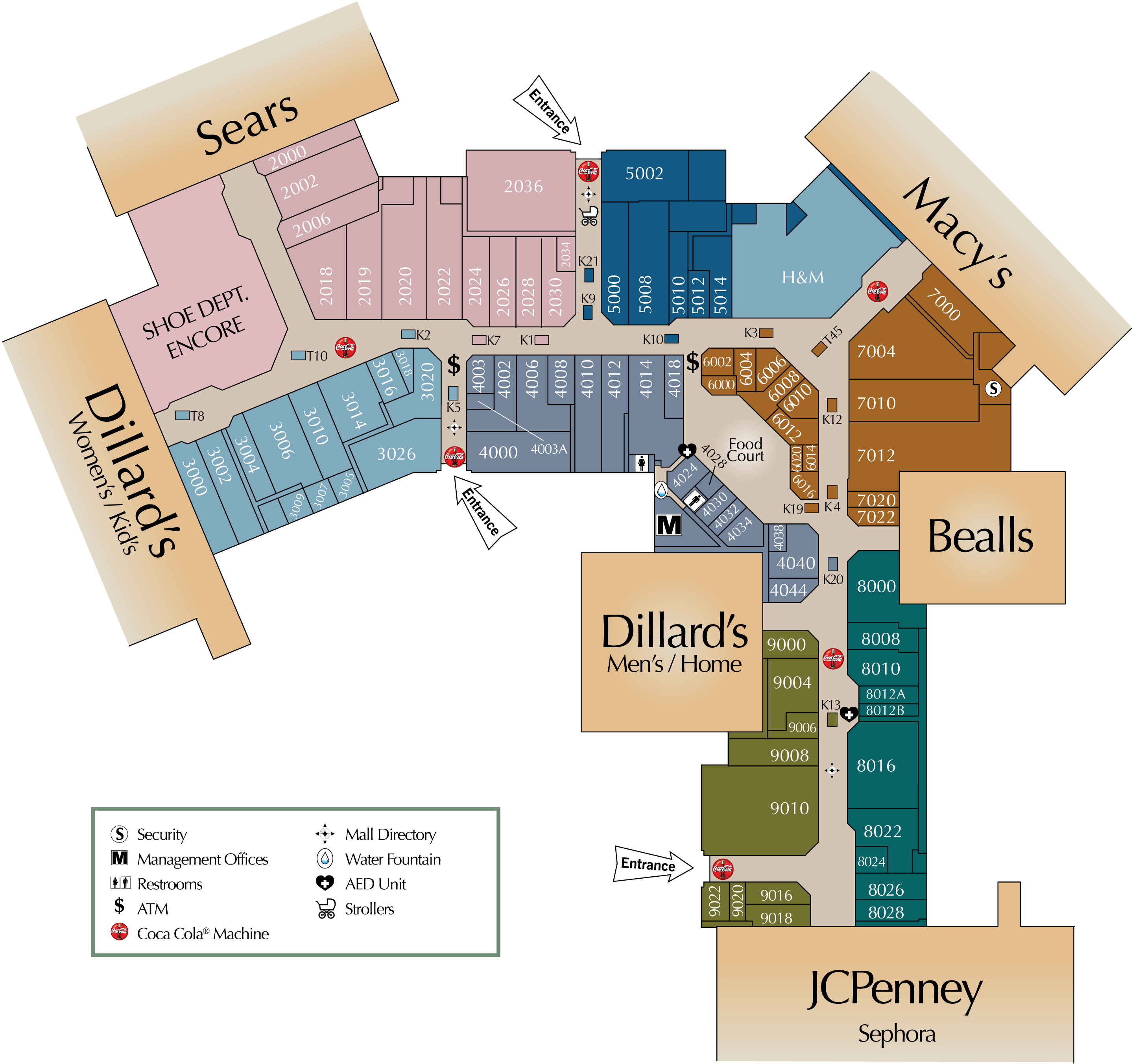 Mall directory post oak mall for Fashion valley jewelry stores
