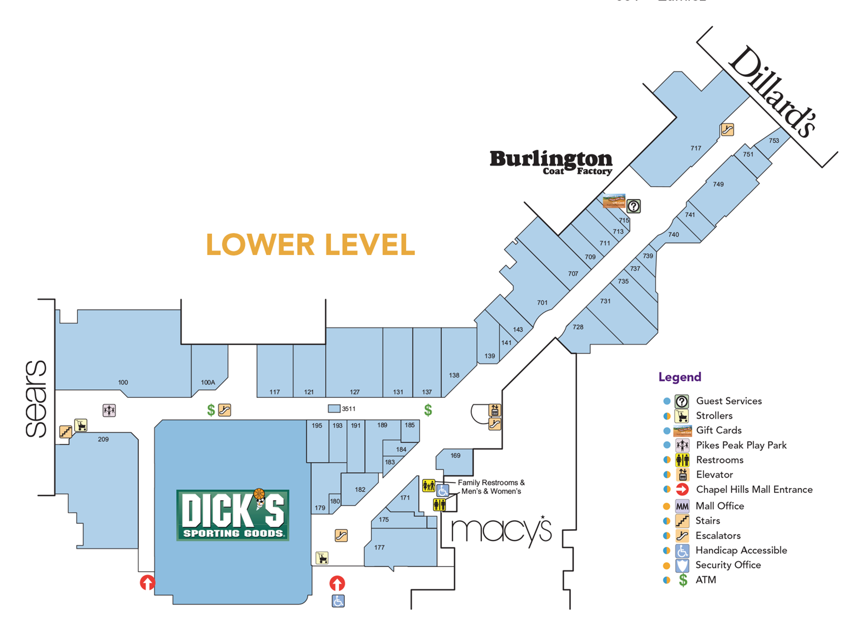 Chapel Hills Mall lower level directory map