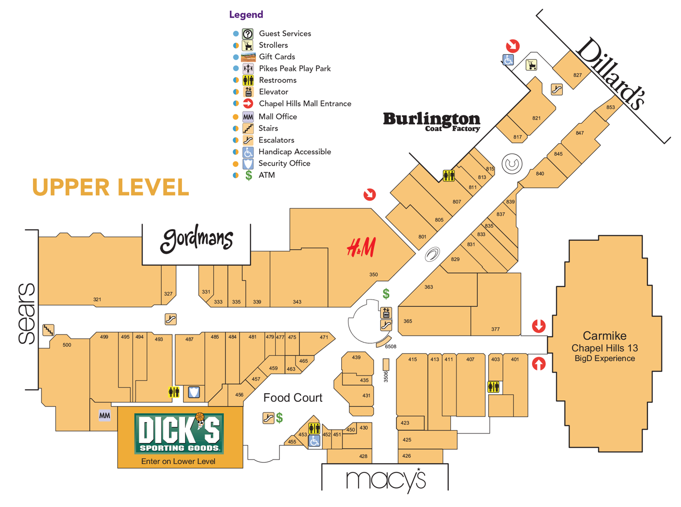 Chapel Hills Mall upper level directory map